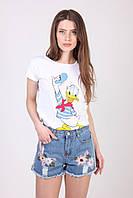 Женские джинсовые шорты с завышенной талией и вышитыми цветами