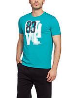 Мужская футболка LC Waikiki голубого цвета с надписью на груди
