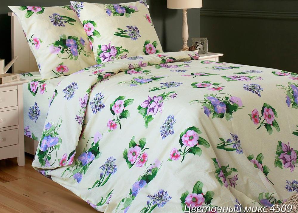 Полуторное постельное белье Цветочный микс
