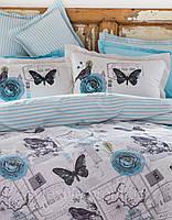 Постельное белье Karaca Home Birdy евро размера Двуспальный Евро Голубой Насекомые, бабочки