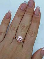 Серебряное кольцо с розовым фианитом