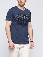 Синяя мужская футболка LC Waikiki /ЛС Вайкики с надписью на груди