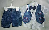 Нарядный детский летний костюм для мальчиков 1-4 года, с джинсовыми шортами, жилеткой и бабочкой