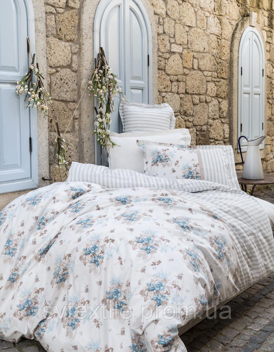 Постельное белье Karaca Home Elena евро размера Двуспальный Евро Голубой Растения, цветы