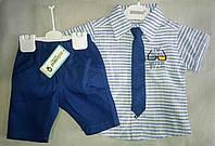Нарядный детский летний костюм для мальчиков 1-3 года рубашка в полоску с коротким рукавом с галстуком
