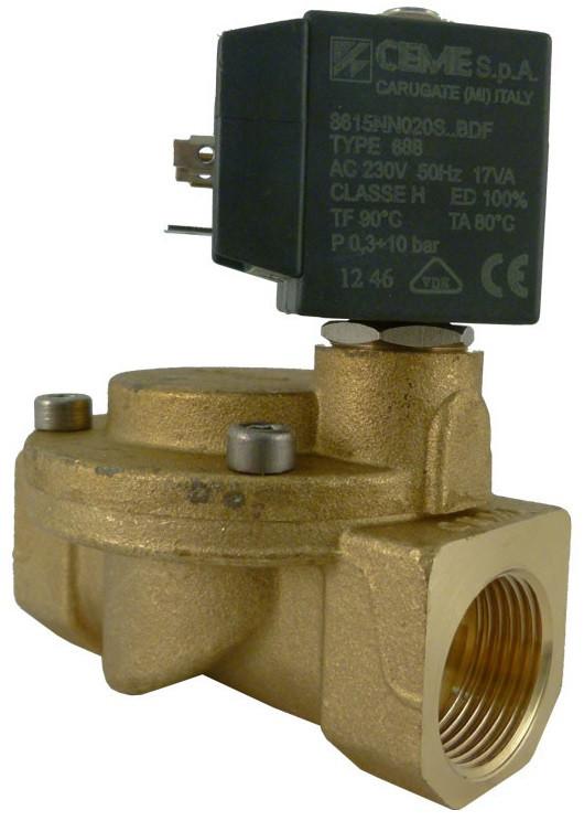 Электромагнитный клапан для воды штоковый CEME 1/4 NBR 220В нормально закрыт