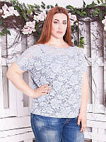 """Нарядная гипюровая блузка """"Ажура"""" большого размера"""