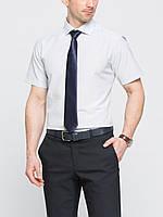 Мужская рубашка LC Waikiki с коротким рукавом белого цвета в мелкую клетку