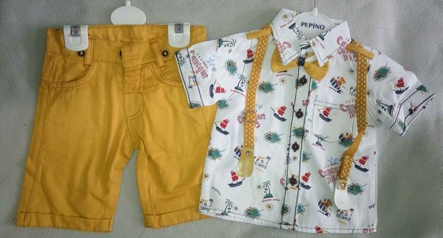 Нарядный детский летний костюм с подтяжками для мальчиков 1-3 года рубашка с коротким рукавом с бабочкой