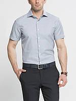 Мужская рубашка LC Waikiki с коротким рукавом белого цвета в мелкую голубую клетку