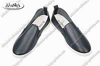 Женские мокасины черные (Код: W 10-1)