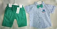 Нарядный детский летний костюм для мальчиков 3-5 лет, рубашка с коротким рукавом с бабочкой