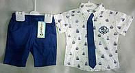 Нарядный детский летний костюм для мальчиков 1-3 года, рубашка с коротким рукавом с галстуком