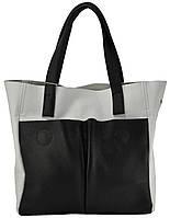 Кожаная женская сумка Палермо бело-черная