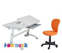Регулируемая парта FunDesk Amare Grey + Детское кресло LST2 Orange