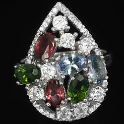Серебряное кольцо с натуральными Хромдиопсидом Родолитом Танзанитом и Cz