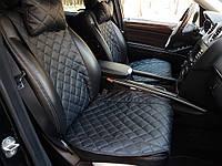 Накидки на сиденья из экокожи черные. Передний комплект. ШИРОКИЕ. Авточехлы