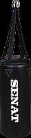 Мешок боксерский Senat 50х22, кожзам, черный, 4 подвеса, 1307-blk