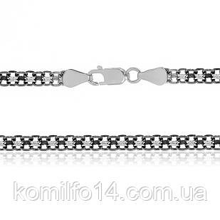 Серебряная цепь оксидированная - бисмарк  45см.