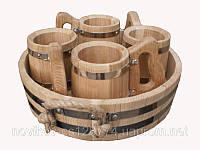 Набор пивной: 4 бондарные кружки по 0,5 л с подносом