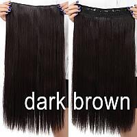Волосы на заколках 60 см коричневый каштановый цвет прямые тресс волосы