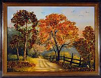 Картина украшена янтарем 30х40см. Пейзаж