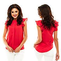 Стильная, однотонная блуза с планкой и с украшением в 13 расцветках.