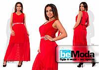 Нарядное вечернее платье с гипюра и шифона красное