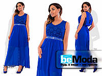 Нарядное вечернее платье с гипюра и шифона голубое