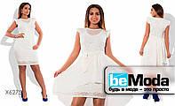 Короткое гипюровое платье с шифоновой накидкой белое