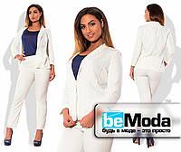 Классический однотонный брючный женский белый костюм