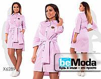 Легкое платье-рубашка с натуральной ткани розовое