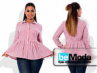 Коттоновая рубашка расклешенная розовая
