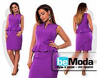Женское платье-футляр средней длины с баской и бантиком на талии фиолетовое