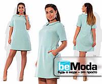 Свободное короткое платье с воротничком изумрудное
