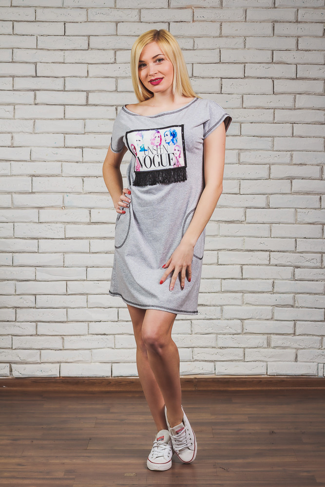 Платье женское светло-серое