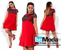 Свободное короткое платье с декорированным верхом красное