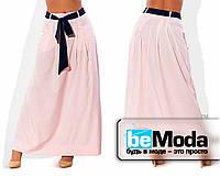 Свободная длинная юбка персиковая
