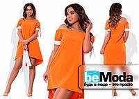 Оригинальное свободное платье оранжевое