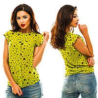 Стильная блуза с планкой и с украшением, принт-звезды.