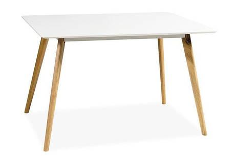 Стол деревянный кухонный обеденный на кухню столовый белый дуб MILAN 120x80 (Signal), фото 2