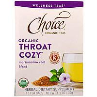 Choice Organic Teas, Уют горла, органический чай для смягчения горла с алтеем, 16 чайных пакетиков, 1,1 унции (32 г)