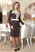 Платье шоколадного цвета, с декором из перфорации р. 50-56