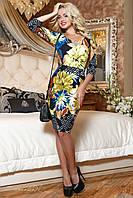 Яркое трикотажное молодежное цветочное платье, фото 1