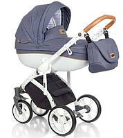 Детская коляска универсальная 2в1 Roan Bass Soft Denim Blue Cognac (Роан Басс, Польша)