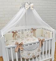 """Комплект в дитяче ліжечко """"Сіро-бежеві сови з кавовими бантами"""", фото 1"""