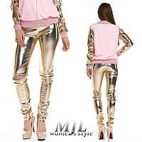 Золотые кожаные лосины Лисиа