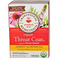 Traditional Medicinals, Сезонный чай, натуральный чай от горла, без кофеина, лимон и эхинацея, 16 завернутых пакетиков, 1.13 унций (32 г)
