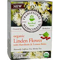 Traditional Medicinals, Травяной чай с органическим цветом липы, без кофеина, 16 чайных пакетиков, 28,8 г