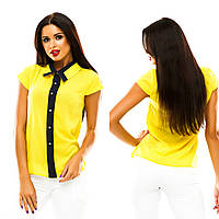 Молодежная блуза с планкой, украшена пуговицами. В 11 расцветках.
